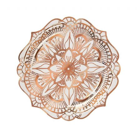 Rose Gold Mandala Patterned Party Plates - Small